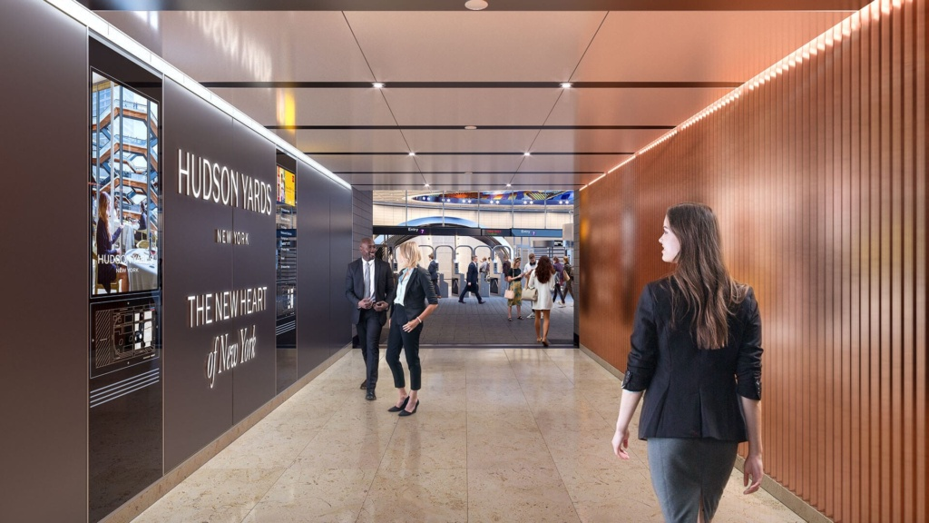 A hallway in 50 Hudson Yards that leads shoppers directly to the New York subway.