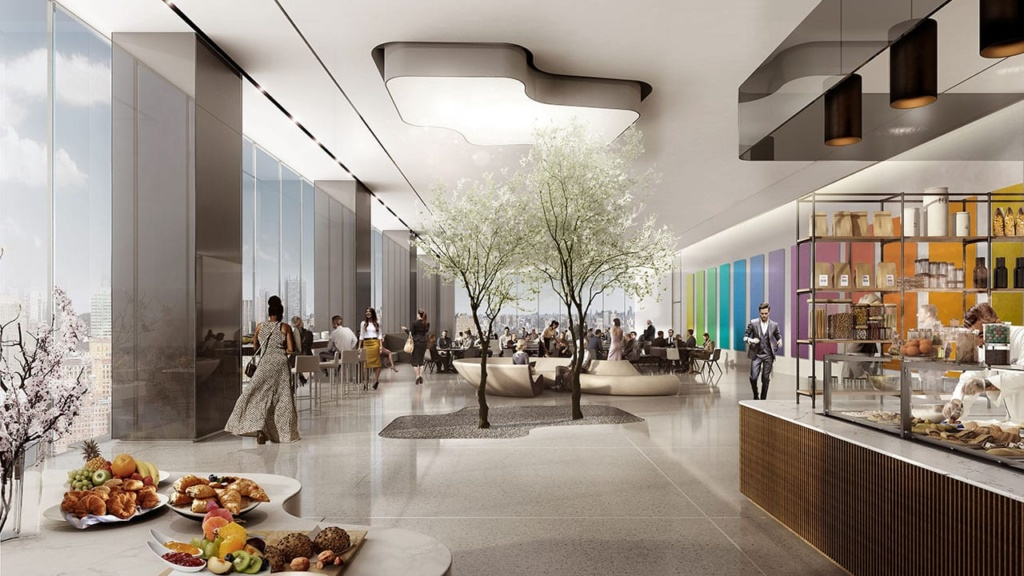 People enjoy the greenspace created by two trees planted next to a coffee shop in 50 Hudson Yards.