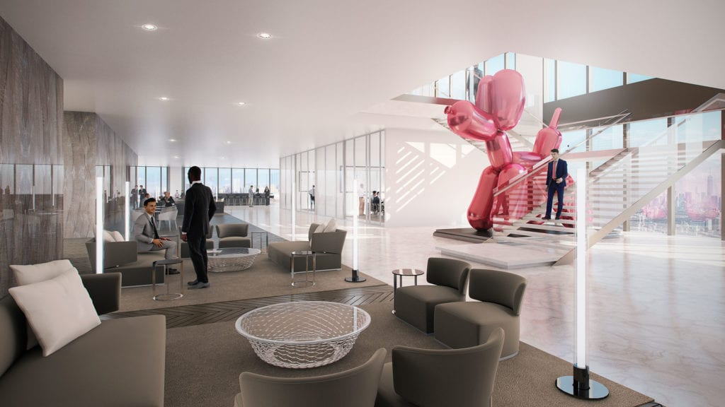 A modern lounge area inside 50 Hudson Yards accented by a pink inflatable balloon in the shape of a dog.