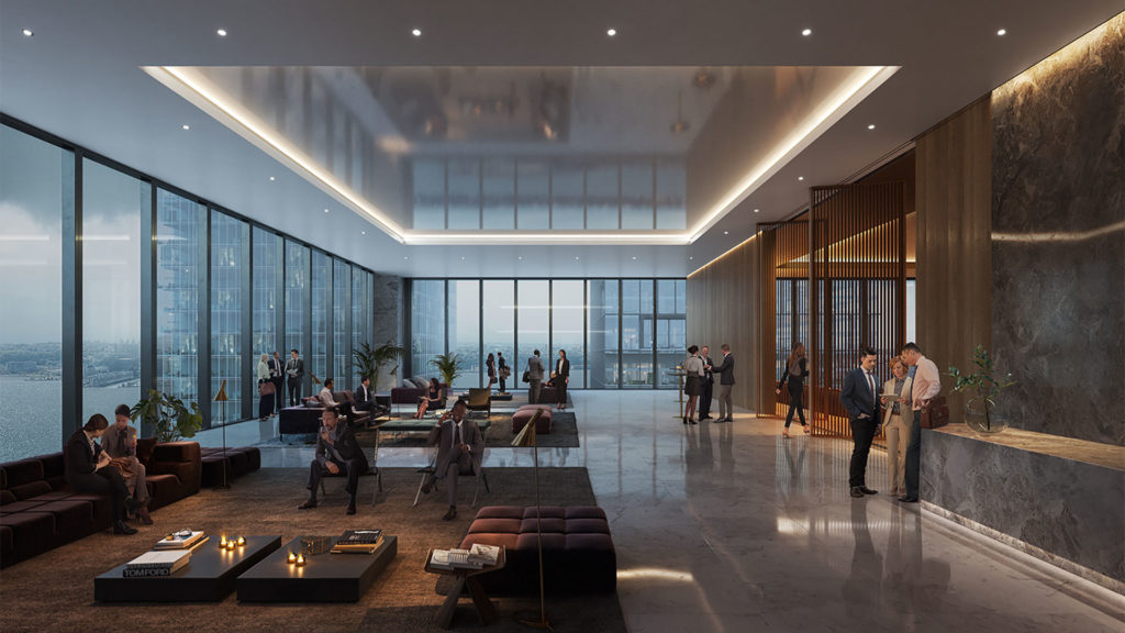 Interior view of lobby with seating area at 50 Hudson Yards
